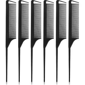 Nuenen 6 Pieces Parting Comb Rat Tail Comb Carbon Fiber Hair Styling Cutting Comb Pintail Fine Teeth Comb Back Combing, Root Teasing, Adding Volume, Evening Styling
