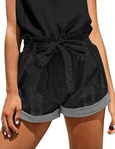 onlypuff Girls Black Jean Shorts Tieknot Rolled Distressed Pocket Vintage Cute Denim Shorts XXL