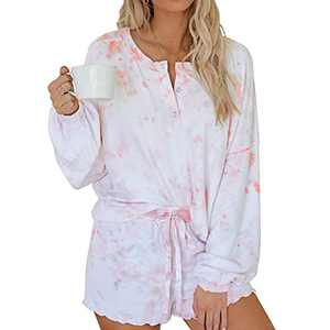 Uzsoeey Women Tie Dye Pajamas Set - Casual 2pcs Long Sleeve Outfits with Shorts Loungerwear Nightwear Sleepwear, White, L