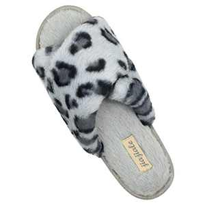 Women's Cross Band Soft Plush Slippers Furry Cozy Rabbit Fur House Shoes Open Toe Indoor Outdoor Fluffy Fuzzy Slides Leopard Grey 6