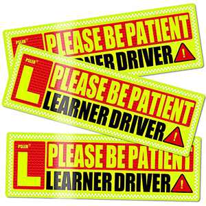 Student Driver Magnet for Car New-Driver Sticker Magnet-car - psler Safety Warning Red and Yellow Reflective Signs Reusable Movable Boys and Girls New Student Driver Sticker 10.8×3.7inch 3 Pcs Gifts