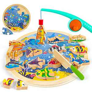 VATOS 3-in-1 Wooden Magnetic Fishing Game Toy for Toddlers, Alphabet Fish Cutting Puzzles Preschool Toys, Fine Motor Skill Toy Montessori Letters Educational Toys Gift for 1 2 3 4 Year Old Toddlers