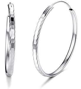 Sllaiss 925 Sterling Silver Hammered Big Hoop Earrings for Women Lightweight White Gold Plated Endless Huggie Hoop Earrings 40MM (40)