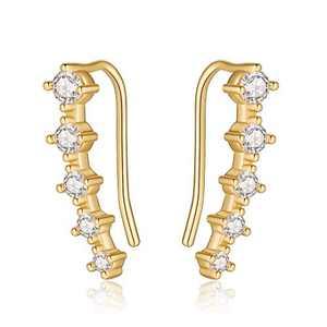 Ear Crawler Earrings for Women Ear Climbers, 925 Sterling Silver Post Cubic Zirconia Gold Plated Crawler Climbers Earrings Hypoallergenic Ear Pin Sweep Earrings for Women Teen Girls Ear Jewelry