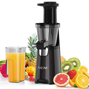 Juicer Machines, Nxone Slow Masticating Juicer Extractor, Cold Press Juicer , Quiet Motor & Reverse Function, Higher Juice Yield Juice Extractor with Brush and Recipes for Fruits and Vegetables, Black