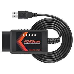 FORScan ELM327 OBD2 Adapter Compatible with Ford, OBDII Scanner via USB Cable, Transform MS/HS CAN Automatically, Program Many Mods