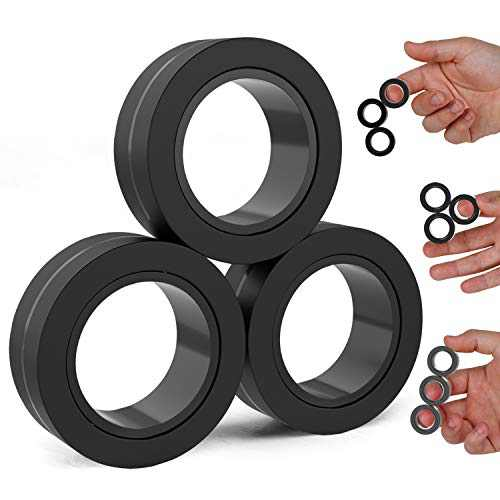 BunMo Fidget Toys - Magnetic Fidget Rings Fidget Toy. The Fidget Ring Spins, Connects, and Separates, Making Great Stress Toys and Sensory Toys