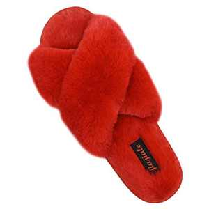 Women's Cross Band Soft Plush Slippers Furry Cozy Rabbit Fur House Shoes Open Toe Indoor Outdoor Fluffy Fuzzy Slides Wine Red