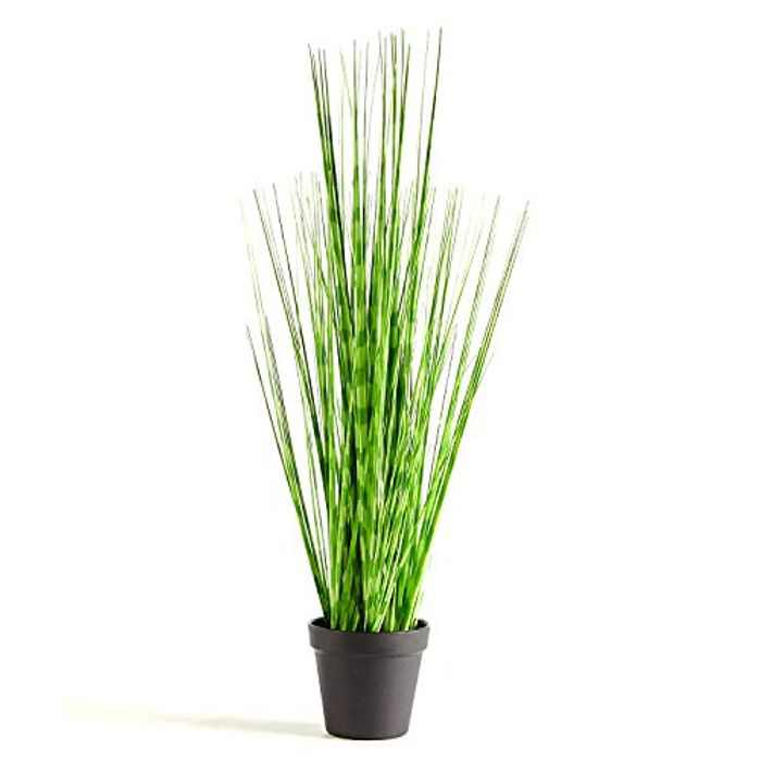 PRIMAISON Tall Artificial Plants Zebra Onion Grass Potted Ornamental Plant-Decorative Greenery Fake Shrubs Plant Faux Plastic Plant Indoor &Outdoor for House Office Kitchen DIY Decor Gift