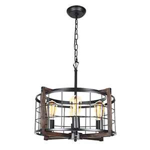 Bizinlumin Round Rustic Chandelier, Black Metal and Wood Farmhouse Drum Chandelier Lighting Industrial Cage Dining Room Foyer Pendant Light Fixture 4 Lights Edison E26 BY19002A