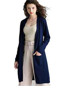 Anna-Kaci Womens Open Front Knit Long Sleeve Slits Drape Duster Coat Cardigan Sweater with Pockets, Navy Back Slit
