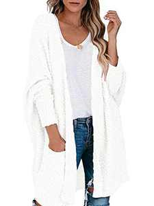 Margrine Women's Open Front Long Sleeve Boho Boyfriend Knit Chunky Cardigan Sweater White M2A68-baise-L