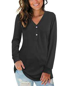 VOTEPRETTY Womens Long Sleeve Shirts V Neck Henley Button Tops Tee (Black,M)