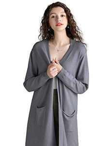 Anna-Kaci Womens Open Front Knit Long Sleeve Slits Drape Duster Coat Cardigan Sweater with Pockets, Grey Side Slit