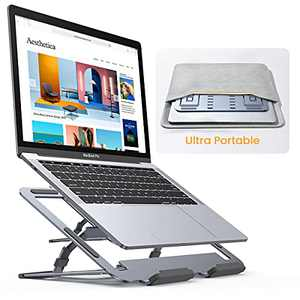 Laptop Stand Adjustable, Super Portable Laptop Stand Riser Ultra-Thin, Lisen All Metal Portable Laptop Stand for Desk Compatible with MacBook Air/Pro, Yoga, Surface Pro, Dell, HP(10-17in)