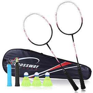 MAIBOLE Carbon Fiber Badminton Racket Set 2 Pack Lightweight Badminton Racquet Sets High Tension Badminton Bat with Carrying Bag, 3 Shuttlecocks, 2 Grip Rubber, Rose Red