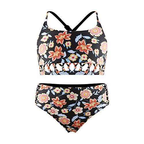 Girls Black Bikini Sets 2 Piece Swimsuit with Criss Cross Back Straps Kids Beach Sport Tankini LP