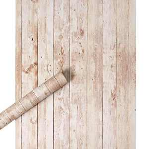 17.7''x32.8ft Removable Wood Wallpaper Peel and Stick, Distressed Shiplap Wood Contact Paper for Cabinets Drawer Shelf Liner Bedroom Livingroom and Wall Decor