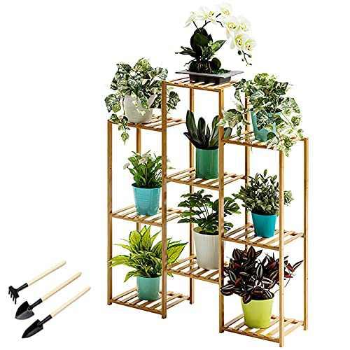 US Fast Shipment Bamboo 6-Tier Hanging Plant Stand Planter Shelves Flower Pot Organizer Bookshelf Storage Rack Folding Display Shelving Plants Shelf Unit Holder