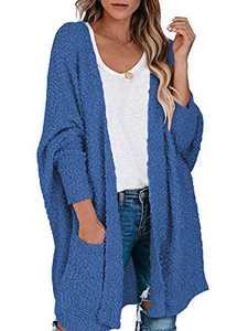 Margrine Women's Long Sleeve Sweater Cardigan Lightweight Soft Loose Open Front Knitted Outwear Navy Blue M2A68-zanglan-M