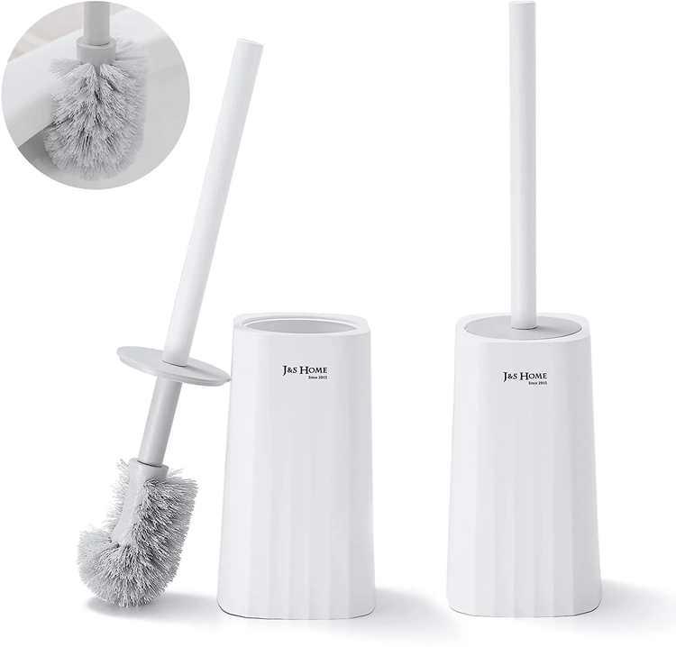DUFU 2 Pack Toilet Brush with Holder No-Slip Longer Handle Enlarged Bottom Toilet Bowl Cleaner Brush Set for Bathroom Toilet Brushes and Holders Plastic with Lid