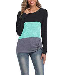Doaraha Women's Comfy Casual Twist Knot Tunics Tops Blouses Tshirts Green