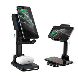 Wireless Charging Phone Stand, Dual Foldable Wireless Charger Stand 10W Qi Fast Wireless Charger Dock Compatible with iPhone 12/11/Pro/Xs/Max/XR/X/8/8P, Samsung Galaxy S20/S10/S9/S8, AirPods 2/Pro