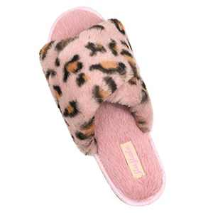 Women's Cross Band Soft Plush Slippers Furry Cozy Rabbit Fur House Shoes Open Toe Indoor Outdoor Fluffy Fuzzy Slides Leopard Pink 8.5