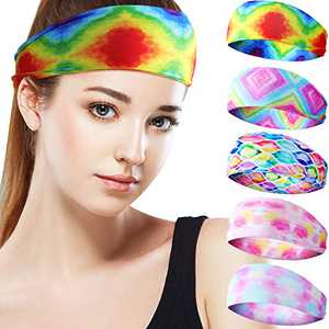 5 Pieces Hippie Headbands for Women, Rainbow Hairband Running Stretch Sports Hair Bands Tie Dye Headband Elastic Workout Yoga Head Wrap Hair Accessories for Hippie Party Supplies