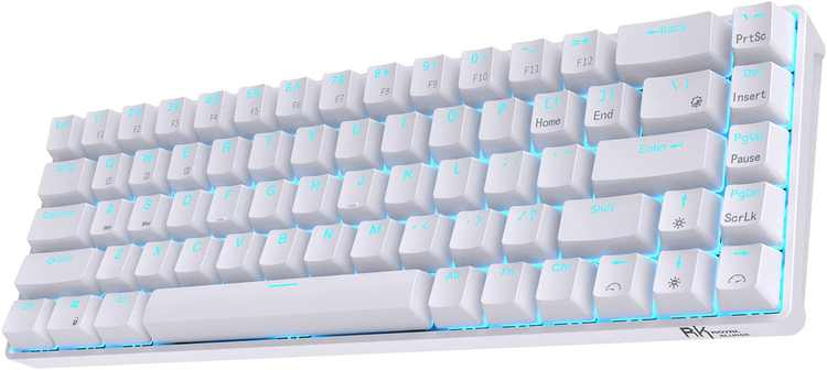 RK ROYAL KLUDGE RK68 65% Hot-Swappable Wireless Mechanical Keyboard, 60% 68 Keys Compact Bluetooth Gaming Keyboard with Stand-Alone Arrow/Control Keys, Clicky Blue Switch