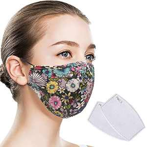 Quanquer Face Cover, Washable Face Covering, Breathable Mouth Covering, Reusable Face Protection with Filter Pocket for Indoor and Outdoor (Flowers)