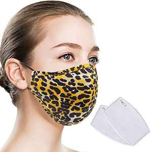 Quanquer Face Cover, Washable Face Covering, Breathable Mouth Covering, Reusable Face Protection with Filter Pocket for Indoor and Outdoor (Leopard)