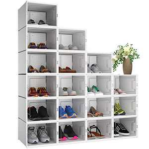 YITAHOME XL Shoe Box, Set of 18 Shoe Storage Organizers Heavy Duty Stackable Clear Shoe Storage Box Rack Containers Drawers - White/Large Size