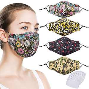 Quanquer Cloth Face Mask, Washable Face Covering, Breathable Mouth Covering, Reusable Face Protection with Filter Pocket for Indoor and Outdoor (4 Pack Mixed)
