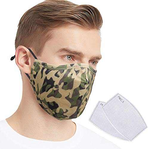 Quanquer Face Cover, Washable Face Covering, Breathable Mouth Covering, Reusable Face Protection with Filter Pocket for Indoor and Outdoor (Camouflage)