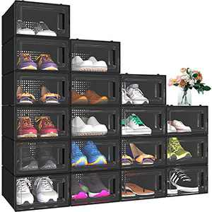 YITAHOME Shoe Storage Box,18 PCS Shoe Storage Organizers Stackable Shoe Storage Box Rack Containers Drawers - Black (Small Size)