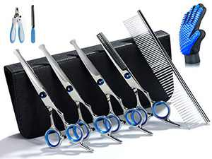 Breeze Touch- Dog Grooming Scissors Kit - Hair Thinning Shears for Dogs with Heavy Duty Stainless Steel Thinning, Straight, Curved Shears, Comb, Nail Clipper, Nail File & Grooming Glove 8 Pcs (Blue)