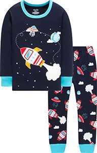 Christmas Pajamas For Boys Girls Rocket Cotton Pjs Baby School Sleepwear Pants Set Size 6