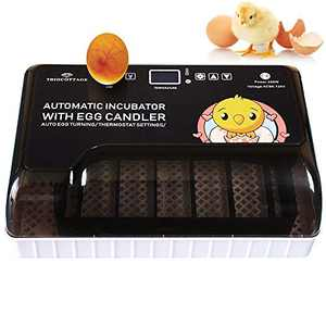 TRIOCOTTAGE Automatic Small Digital Egg Incubator,Hatching 12 Chickens 35 Quails 8 Ducks 2 Geese and Birds,Auto Egg Turning Turner Poultry Hatcher