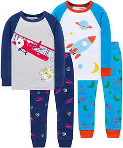 Boys Cool Airplane Pajamas Christmas Children Rocket Pjs Toddler Kids School Sleepwear Size 5
