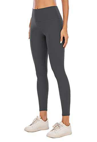 BOLIVO Workout Leggings for Women High Waisted Soft Yoga Pants Tummy Control 7/8 Length (X-Large, Graphite Grey)