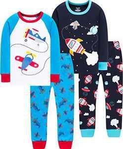Little Boys Christmas Pajamas Children Airplane Pjs Baby Girls Rocket School Sleepwear Size 3