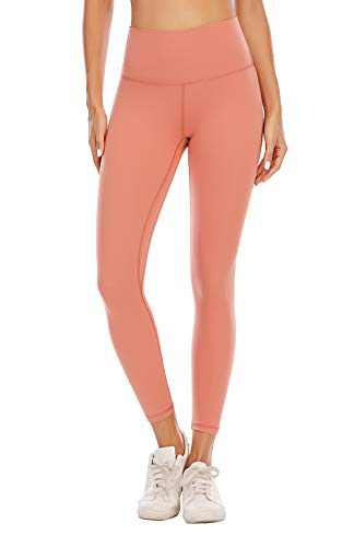 BOLIVO Workout Leggings for Women High Waisted Soft Yoga Pants Tummy Control 7/8 Length (Small, Rustic Coral)