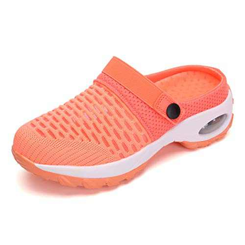 UBFEN Women's Slippers House Shoes All Seasons Mesh Slip On Air Cushion Garden Shoes Size 6.5 Orange Red