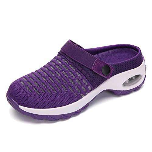UBFEN Women's Slippers House Shoes All Seasons Mesh Slip On Air Cushion Garden Shoes Size 7 Purple