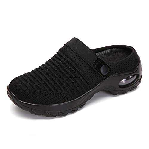 UBFEN Women's Slippers House Shoes All Seasons Mesh Slip On Air Cushion Garden Shoes Size 6.5 Black