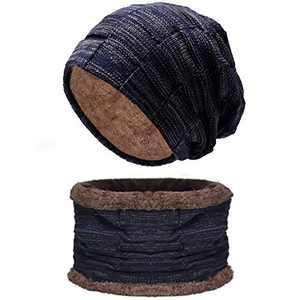 Unisex Knit Beanie and Scarf Set for Fleece Lined Men Women Lightweight Hat Warm Winter Blue