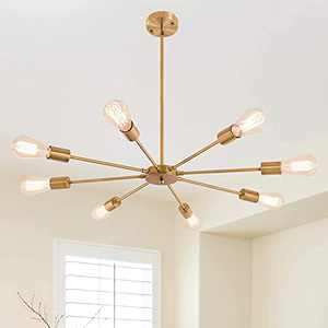 Brass Sputnik Chandelier 8 Lights Gold Pendant Light Fixture Mid Century Modern Starburst-Style Ceiling Lamp for Living Dining Room Bedroom Kitchen Bedroom Foyer