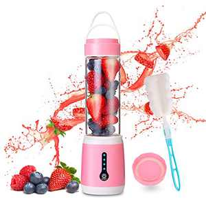 [New Upgrade] Portable Blender, WISREMT 480ML Multipurpose Mini Personal Blender with 6 Blades, 100W Powerful LED Power Indicator Fruit Crusher, USB Rechargeable Mini Juicer Cup with Cup Lid and Brush for Shakes Smoothies Kitchen Office Sport Travel (Pink)
