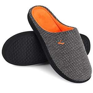 VONMAY Women's Slip On Slippers Warm Two-Tone Memory Foam House Shoes Lightweight Non-Slip Indoor Outdoor, Dark Grey, Size 5-6